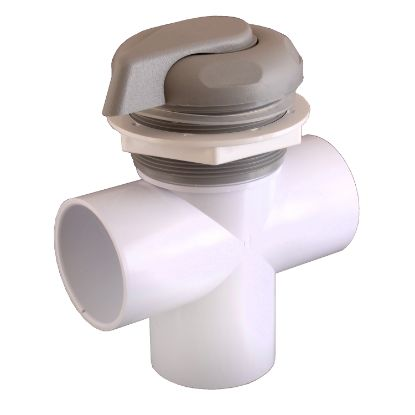 "25048-019-000: Diverter Valve, CMP, 3-Port, 2"", Vertical, Top Access, 5-Scallop, Gray"
