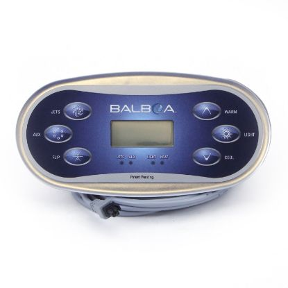55673-05: Spaside Control, Balboa TP600, 6-Button, Oval, LCD, Jets-Up, Aux-Light, Flip-Down