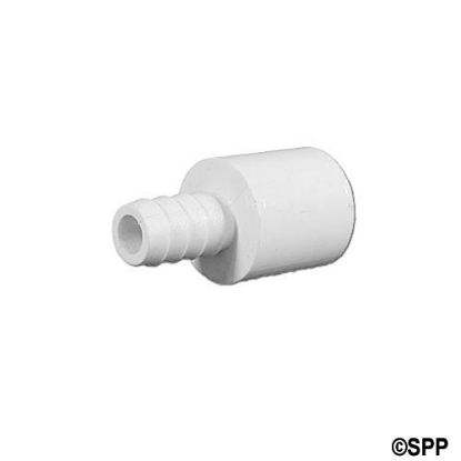"73818: Fitting, PVC, Ribbed Barb Adapter, 3/8""RB x 1/2""Spg"