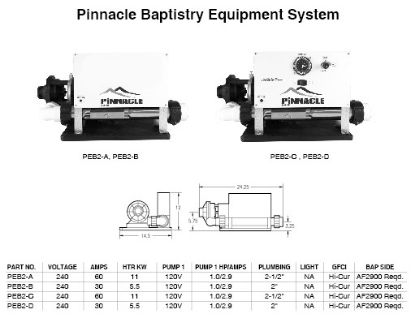 BES-6005: Baptismal Equipment System, Hydroquip BES6005 Series, 230V, 11kW, Pump1= 1/8HP @ 230V, Autofill/Drain Ready, Less Time Clock