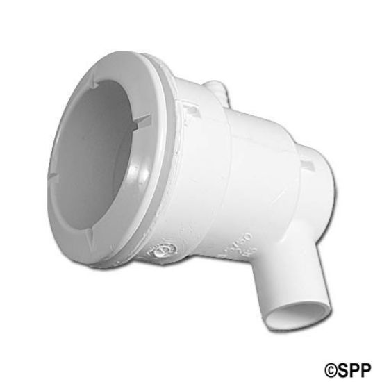 "210-5750: Body Assembly, Jet, Waterway Poly, Ell Body, 1/2""S Water x 3/8""B Air, 2-5/8"" Hole Size w/ Wall Fitting, White"