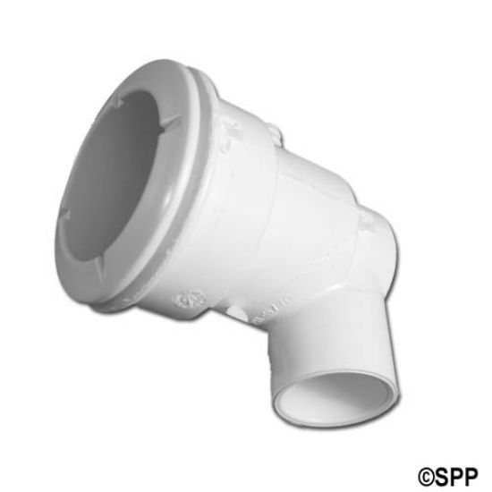 "210-5770: Body Assembly, Jet, Waterway Poly, Ell Body, 1""S Water x 3/8""B Air, 2-5/8"" Hole Size w/ Wall Fitting, White"