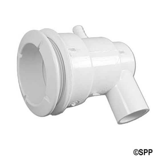 "210-5910: Body Assembly, Jet, Waterway Poly, Ell Body, 3/4""S Water x 3/8""B Air, 2-5/8"" Hole Size w/ Wall Fitting, White"