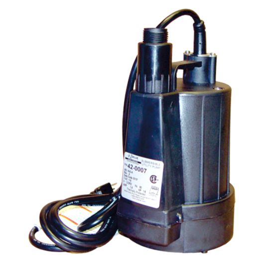 10-0178: Circulation Pump, HydroQuip, Used w/ Emergency Spa Heater, Submersible, 1/6HP, 115V w/ 20' Power Cord