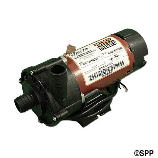 "3312620-19: Circulation Pump, Waterway Tiny Might, 1/16HP, 230V, .4A, 1-Speed, 14-18GPM, 1""Barb, Side Discharge"