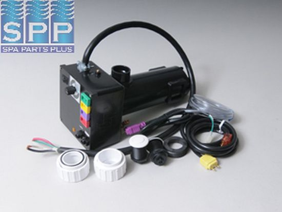 CS500-A: Control System, Air, HydroQuip CS500, 120V, 1.1kW, Pump1 (120V), Blower (120V), Light (120V HOT), Less Time Clock, w/ Molded (J&J Style) Cords & 15A GFI Cord