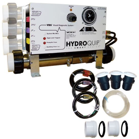 CS6009-US1: Control System, Air, HydroQuip CS6009US1 Slide , Conv. 1.4/5.5kW, Pump1, Blower or P2, Light, w/ Time Clock,  w/ Molded (J&J Style) Cords