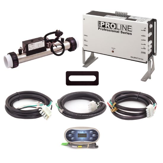 PL6209BP-CP-S45-T60J-00: Control System, Proline, BP501G2, 120/240V, 1.125/4.5Kw Slide, 1 Pump- 2 Speed, Blower, Ozone, w/TP600 Spaside, Overlay- (Jet, Jet, Aux, Warm, Light, Cool) & Cords