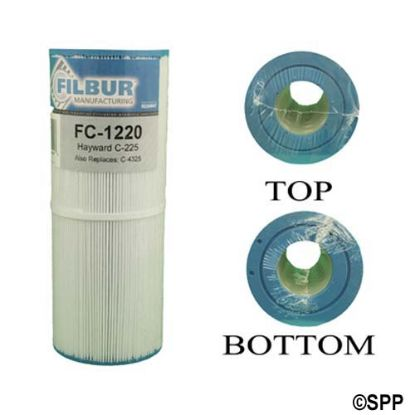 "FC-1220: Filter Cartridge, Filbur, Diameter: 4-5/8"", Length: 11-7/8"", Top: 2-1/16""Open, Bottom: 2-1/16""Open, 25 sq ft"