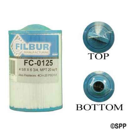 "FC-0125: Filter Cartridge, Filbur, Diameter: 4-5/8"", Length: 6-3/4"", Top: Handle, Bottom: 1-1/2""MPT, 20 sq ft"