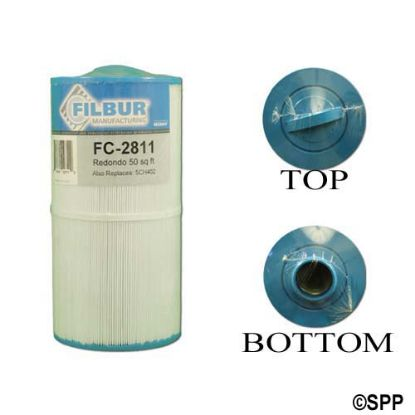"FC-2811: Filter Cartridge, Filbur, Diameter: 5-1/2"", Length: 11"", Top: Handle, Bottom: 2""MPT, 45 sq ft"