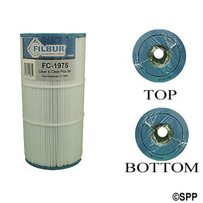 "FC-1975: Filter Cartridge, Filbur, Diameter: 7"", Length: 14-1/8"", Top: 3-1/16""Open, Bottom: 3-1/16""Open, 60 sq ft"