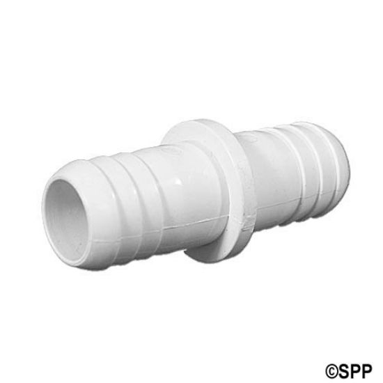 "21000-750: Fitting, PVC, Ribbed Barb Coupler, 3/4""RB x 3/4""RB"