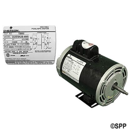 TS602: Motor, Emerson, Thru-Bolt, 56-Frame, 1-Speed, 1.5HP, 115/230V, 8.8/17.5 Amp