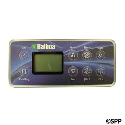 54108: Spaside Control, Balboa VL801D, Serial Deluxe, 8-Button, LCD, Time-Warm-Blower-Light, Mode-Cool-Jet1-Jet2