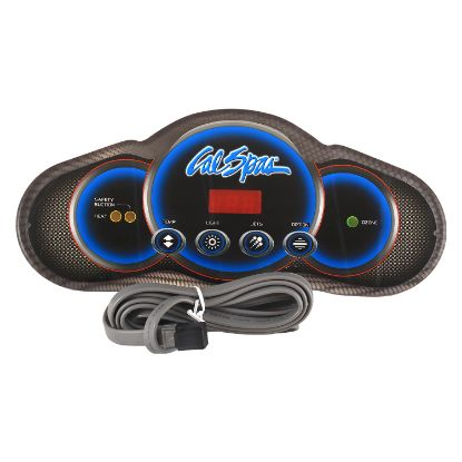 ELE09200877: Spaside Control, Cal Spa (Balboa) Mini Dash 6200/6300, 4-Button, LED, Temp-Light-Jets-Option, 7' Cable w/ 8 Pin Phone Style Plug
