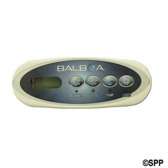 34-0225B: Spaside Control, HydroQuip (Balboa) Eco-200, 4-Button, LCD, Blower-Jets-Temp-Light