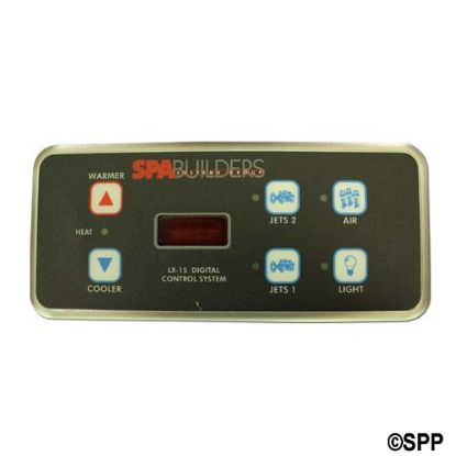 3-00-0140: Spaside Control, Spa Builders LX15, 6-Button, LED, Up-Pump2-Blower, Down, Pump1-Light, Less Cable
