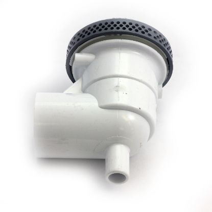 "640-3287V: Suction Assembly, Waterway, VGB, Hi-Flo, 3-3/4""Dia Cover, 1-1/2""S, 90° Ell w/Vacuum Break, Gray"