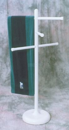 "401: Towel Rack, 50""Tall, 3 Adjustable 24"" Cross Bars, White"